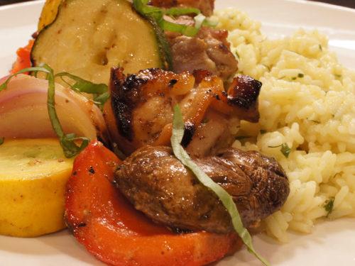 Grilled Honey Mustard Chicken & Veggie Shish Kabobs