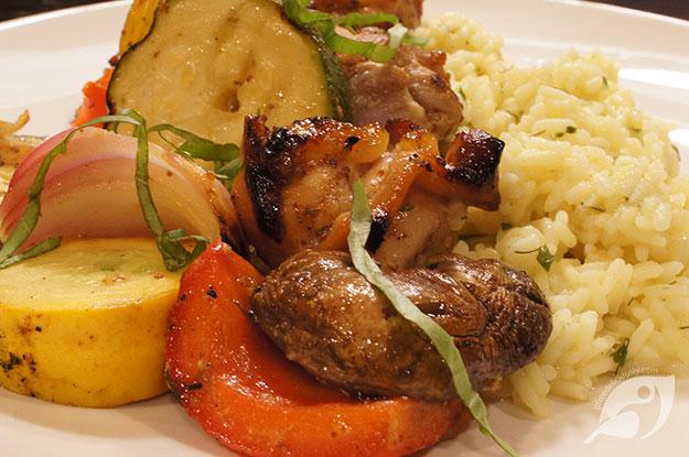 Gluten-Free Food: Grilled Honey Mustard Chicken & Veggie Shish Kabobs with curry rice
