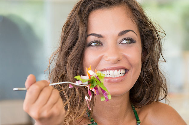Woman eating gluten-free