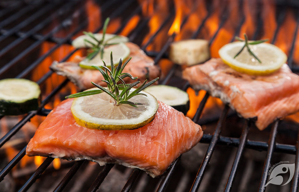 Salmon on the grill with Lemon and Rosemary