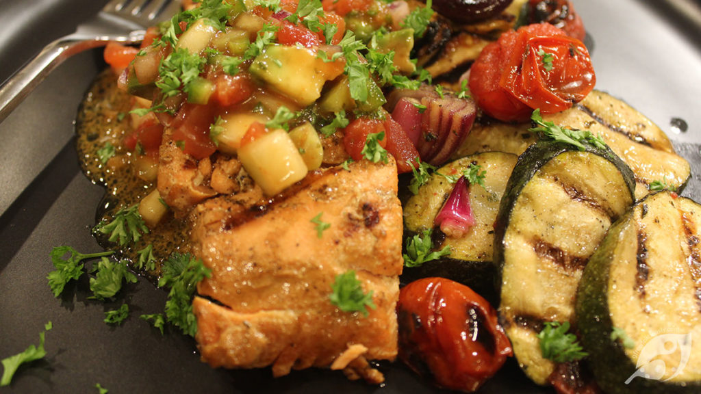 Grilled Salmon with Mexican-Inspired Avocado Ceviche-Style Salsa