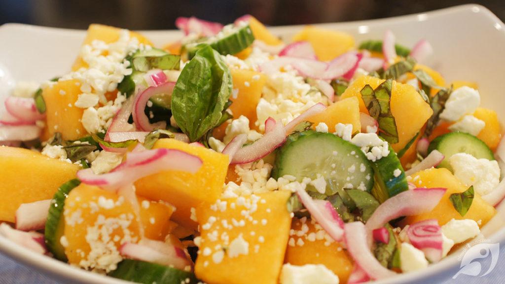 Garden Fresh Cantaloupe & Cucumber Salad with Feta