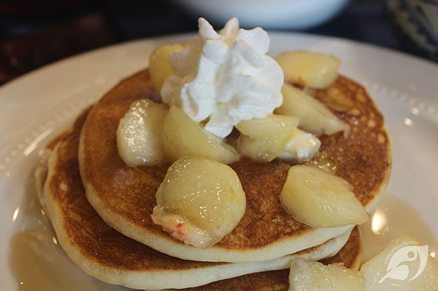 Gluten-Free Food: Gluten-Free Super Tasty Donut Peach Pancakes with peaches, syrup and whipped cream on top