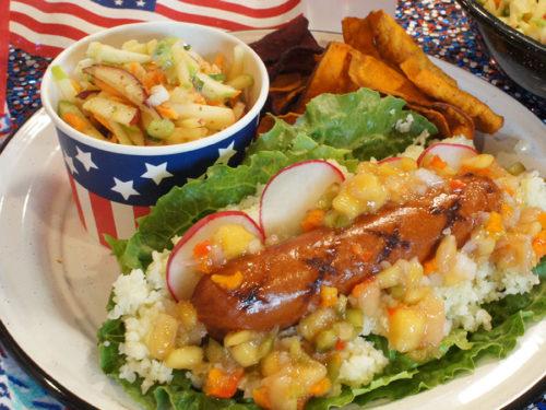 Mango Pineapple Salsa Fresca All American Dogs over Cauliflower Rice