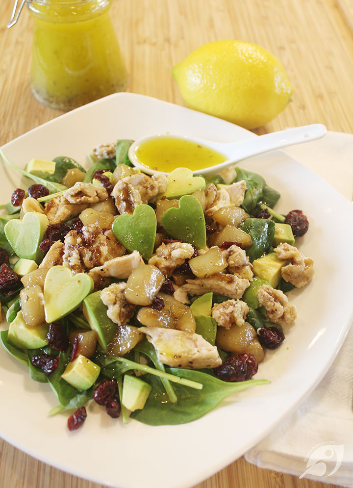 Poached Pear & Chicken Salad with Lemon Poppyseed Dressing
