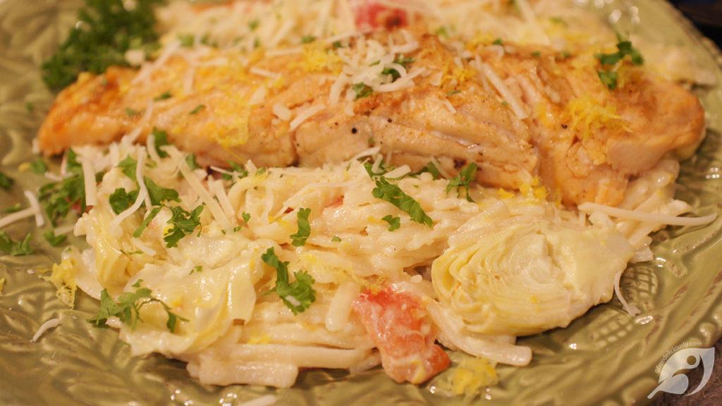 Baby Artichoke Hearts & Tomato Linguine Served with Baked Salmon & Lemon Cream Sauce