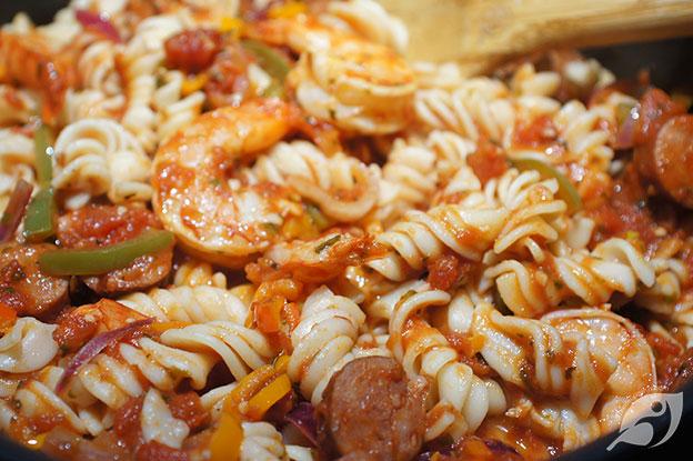 Gluten-Free Food: Spicy Shrimp & Andouille Sausage Fusilli