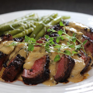 Chocolate & Coffee Rubbed New York Strip Steak with Bourbon Parmesan Cream Sauce