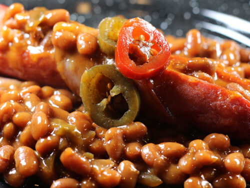Grilled Bacon-Wrapped Chipotle Cheddar Cheese Stuffed Hotdogs & Beans