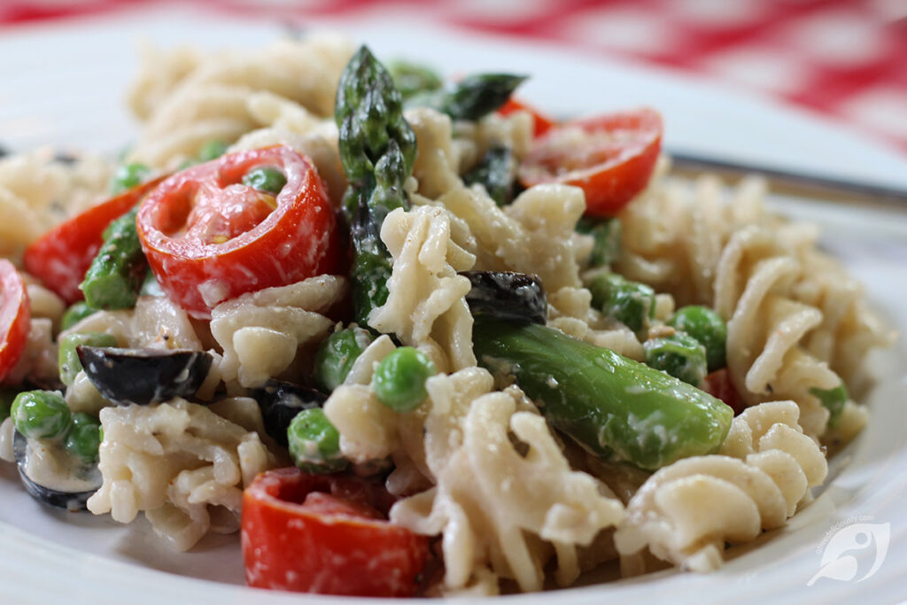 closeup of Asparagus and Pea Macaroni Salad on a plate