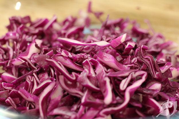 making Creamy Coleslaw purple cabbage cut
