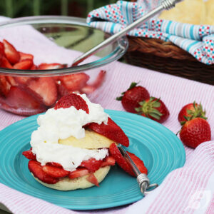 Strawberry Shortcake with Sweet Biscuits on a plate