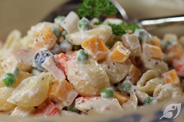 Gluten-Free Food: Seafood Pasta Salad in bowl closeup