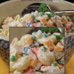 Gluten-Free Food: Seafood Pasta Salad in bowl with closeup overlay