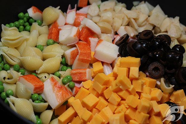Gluten-Free Food: Seafood Pasta Salad ingredients step 1