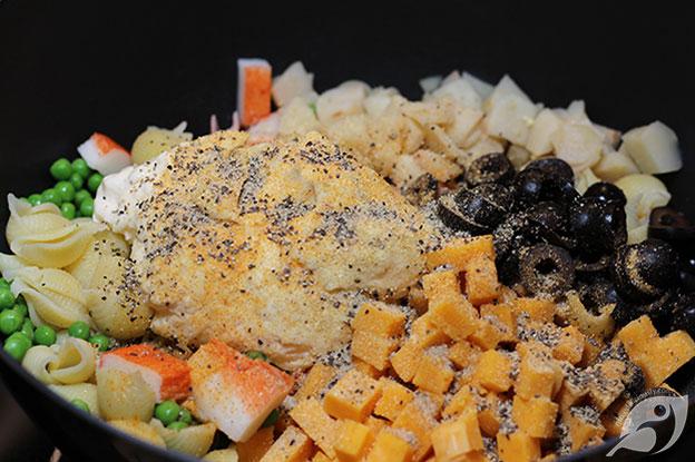 Gluten-Free Food: Seafood Pasta Salad ingredients step 2