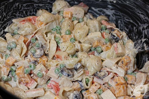Gluten-Free Food: Seafood Pasta Salad in bowl step 4