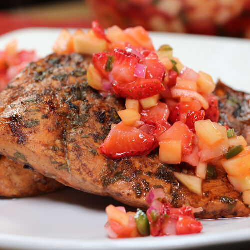 Strawberry Balsamic Grill-Glazed Salmon Fillets closeup on plate
