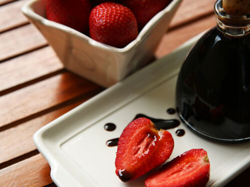 Strawberry Balsamic Vinegar with strawberries and balsamic drizzle