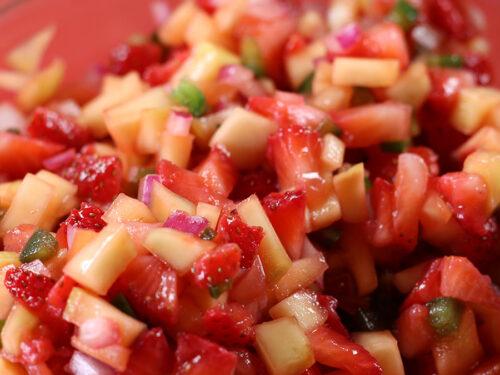 Strawberry Mango Summer Salsa closeup photo