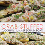 Pinterest image of Crab-Stuffed Zucchini and Summer Squash Boats fresh from the grill on a tray.