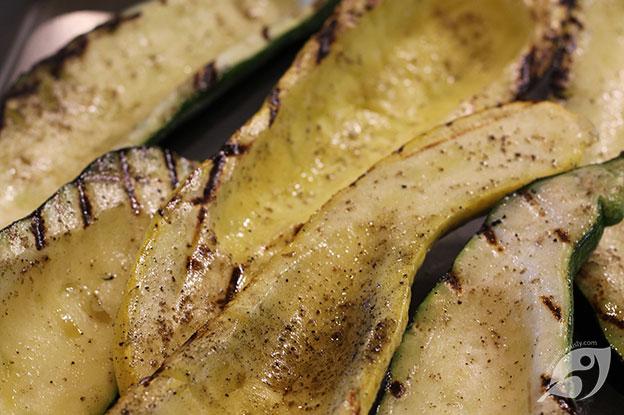 Showing zucchini and summer squash after it is pre-grilled.