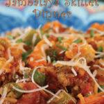 Pinterest Image: 45-Minute Jambalaya Skillet Dinner closeup plated with andouille sausage, okra, and shrimp