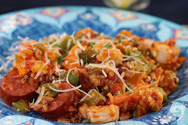 45-Minute Jambalaya Skillet Dinner closeup plated with andouille sausage, okra, and shrimp