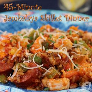 45-Minute Jambalaya Skillet Dinner closeup plated with andouille sausage and shrimp