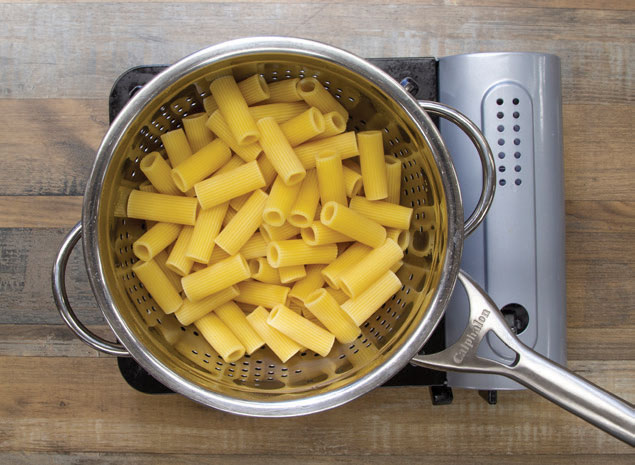 cooked pasta in a pan