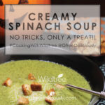 creamy spinach soup with pumpkin jack-o-lantern social share image