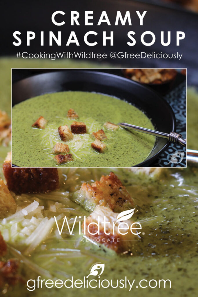 creamy spinach soup Pinterest share image