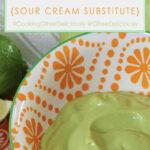 Dairy-Free Avocado Cream closeup Pinterest share image