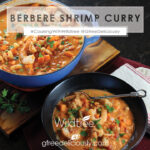 Berbere Shrimp Curry shown in a bowl nect to a pot of the stew, social share image