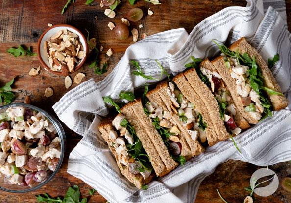 Cranberry Chicken Salad sandwiches in a basket