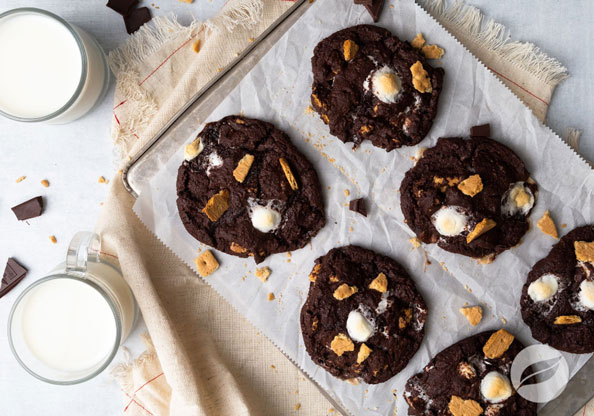 S'mores Cookies and milk