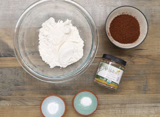 In a medium-size mixing bowl, whisk together flour, cocoa powder, S'mores Dessert Blend, baking soda, and salt.