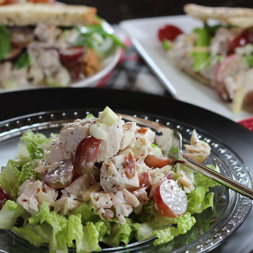 Cranberry Chicken (Turkey) Salad on a bed of Romaine lettuce