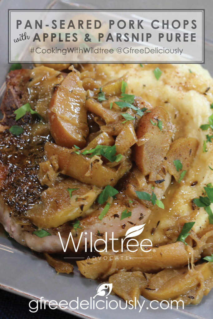 Pan-Seared Pork Chops with Apple & Parsnip Pureé Pinterest sharing graphic