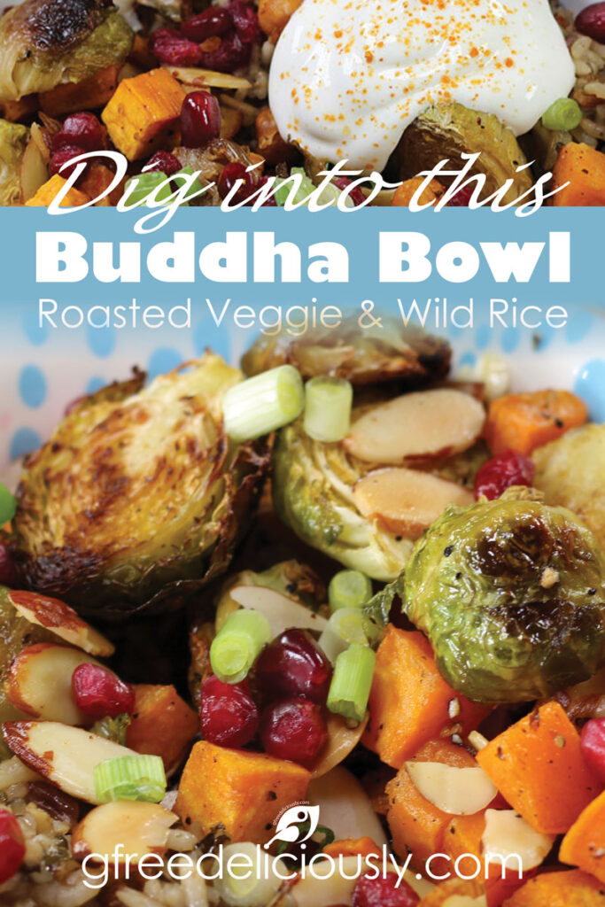 Pinterest share graphic Roasted Veggie & Wild Rice Buddha Bowl