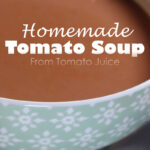 Closeup bowl of Tomato Soup Pinterest share graphic 800x1200px