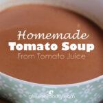 Closeup bowl of Tomato Soup social share graphic 728x728px