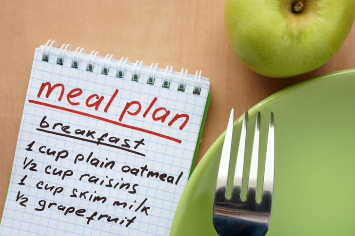 "words ""meal plan"" on tablet with apple, plate and fork on the right"
