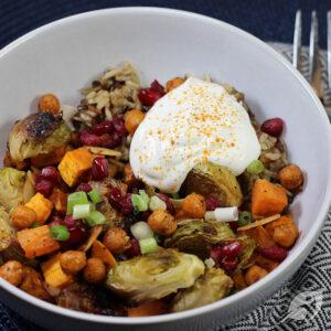 Roasted Veggie & Wild Rice Buddha Bowl closeup