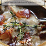 Closeup Pinterest share image of Creamy Wild Rice & Mushroom Soup in a bowl