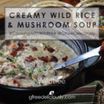 Closeup social share image of Creamy Wild Rice & Mushroom Soup in a pot