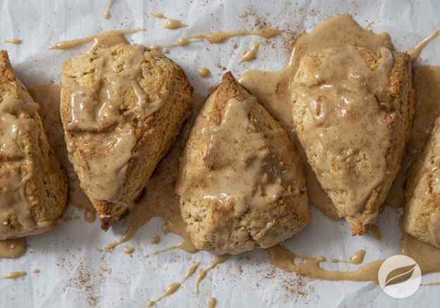 Chai Scones with Maple Coffee Glaze on white parchment