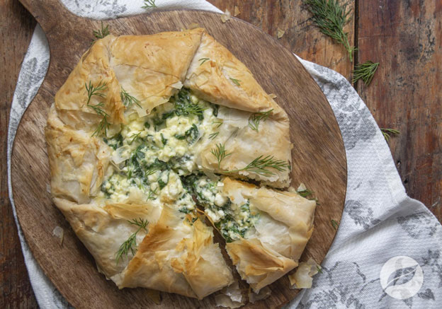Spinach & Feta Phyllo Galette on board