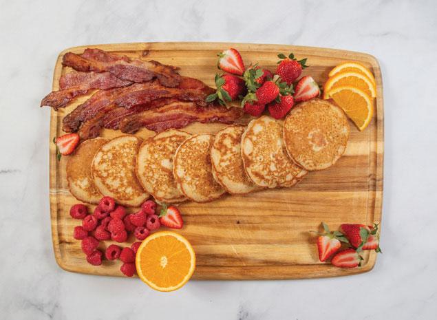 Gluten-Free Pancake Board (Breakfast Charcuterie Platter) with bacon, fruit and panckaes