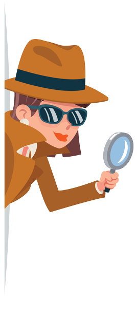 Spy Girl with magnifying glass